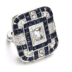 Art Deco Blue Sapphire w/Topaz Ring
